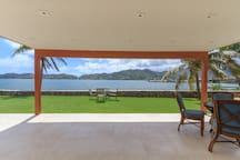 Downstairs seating area with views of the bay.