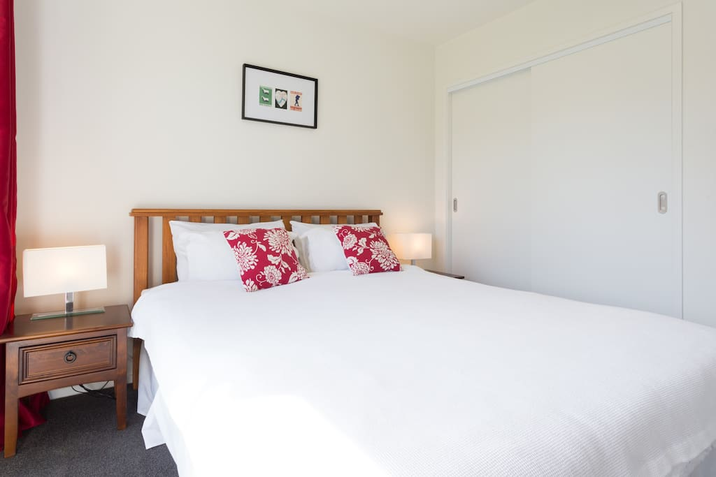 Relax in your comfortable room in a quiet, private corner of our home
