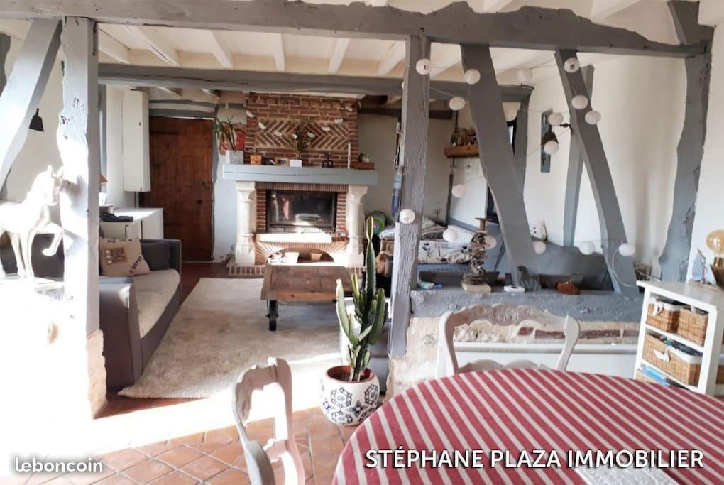 Le salon très cosy avec une cheminée très agréable en hiver et pour les soirée d'été un peu fraiche