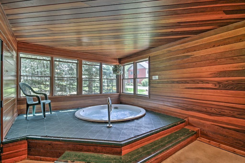 Enjoy a soak in the hot tub after a day of skiing.