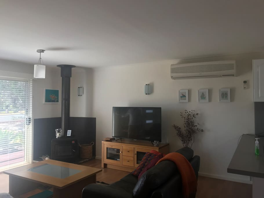 Lounge room with air conditioner, combustion heater, 55 inch TV