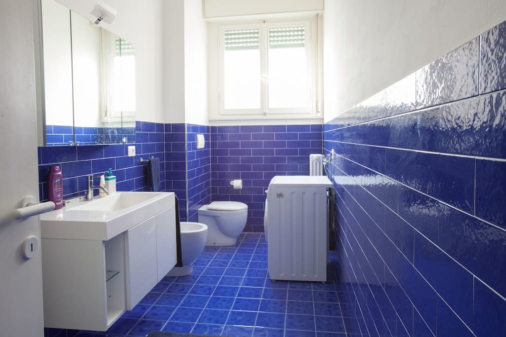 Deep blue large& elegant bathroom.Showerstall and washing machine inside the room.