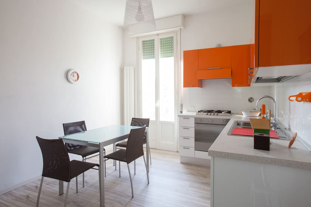 Elegant and modern kaki kitchen in pure italian design.All devices (dishwasher,fridge) are included.
