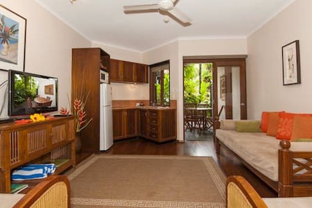 Set amongst lush tropical gardens in central Port Douglas you will find this one bedroom apartment. This Balinese inspired resort is only a 200m walk to Macrossan Street and 700m to 4 Mile Beach Day Spa on site for complete relaxation.