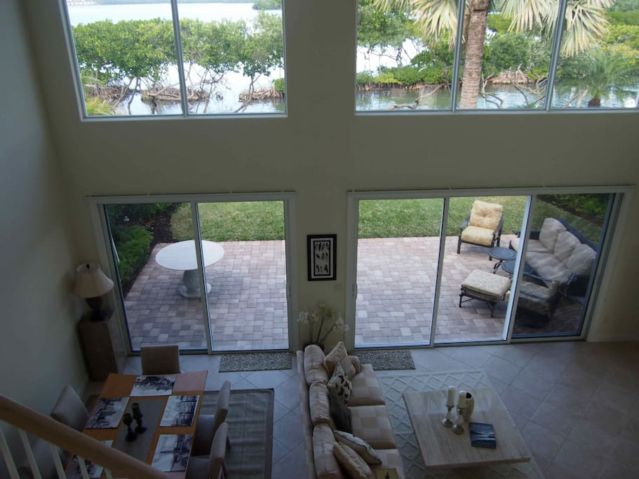 Livingroom view from second floor, amazing bay views!