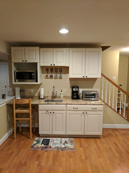 kitchenette...microwave, toaster/convection oven, coffee maker, hot plate