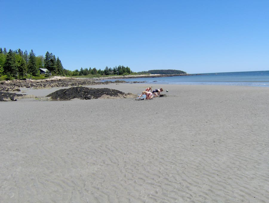 Sandy beach to play and relax on.