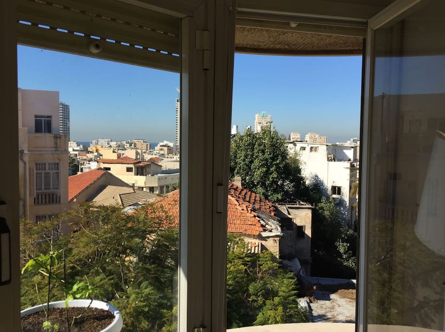 View from the window to historical Tel Aviv.