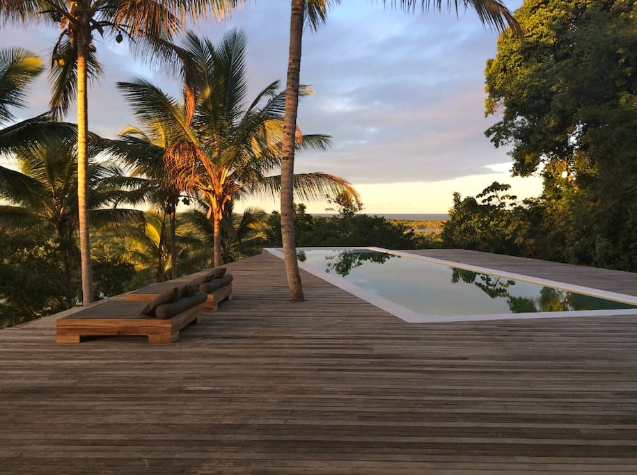 Pool & Sunset deck with view to the River the Mata Atlantica and the Ocean