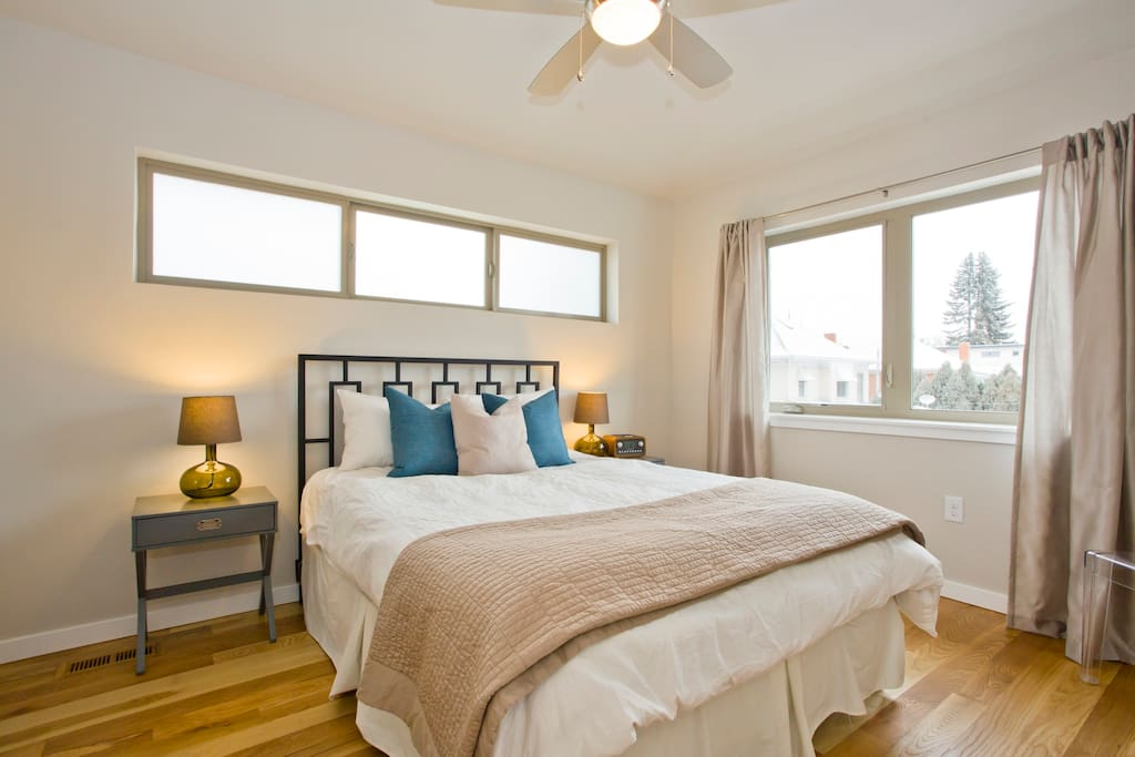 Master bedroom with queen bed (brand new, very comfy mattress).
