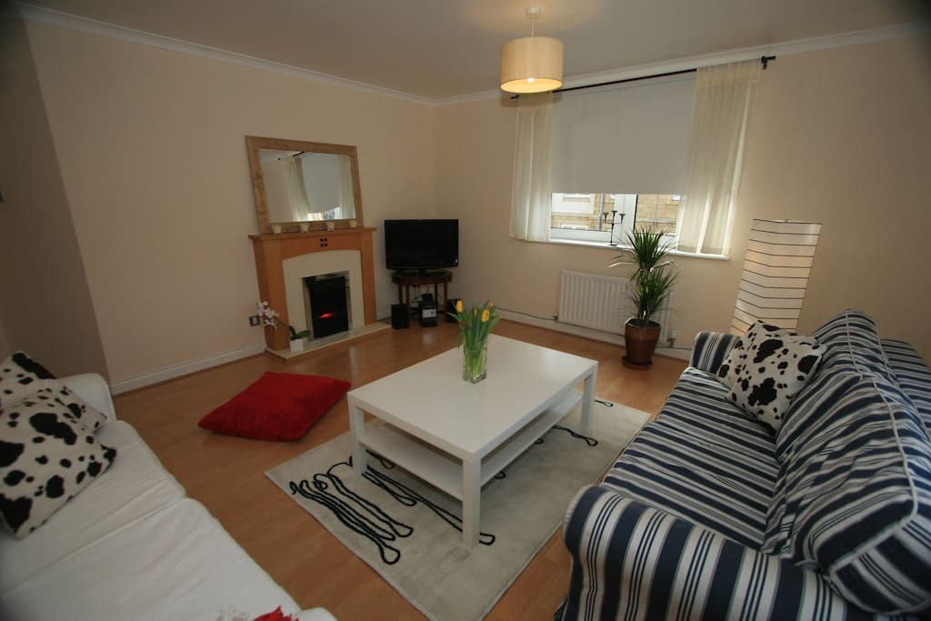 The spacious and bright living room has a double sofabed (sleeps 2 guests).