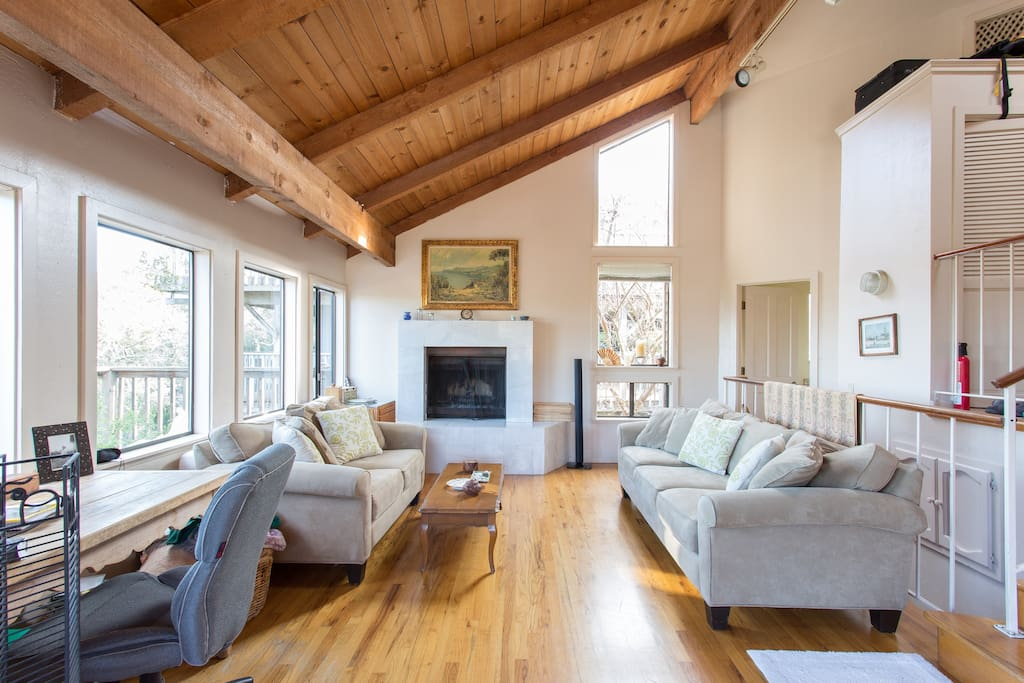 You get to share entire upstairs with host & occasionally another guest. Living room and fireplace (plenty of wood for you!)  So bright, overlooks deck and mountains