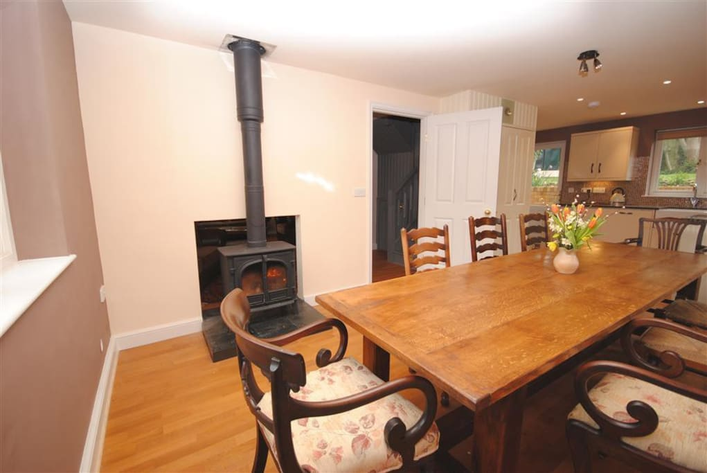 kitchen diner with log burner