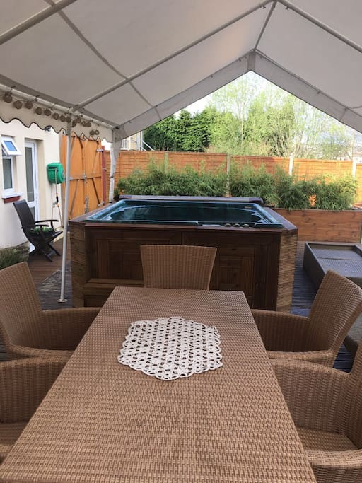 six person  hot tub with the lounger