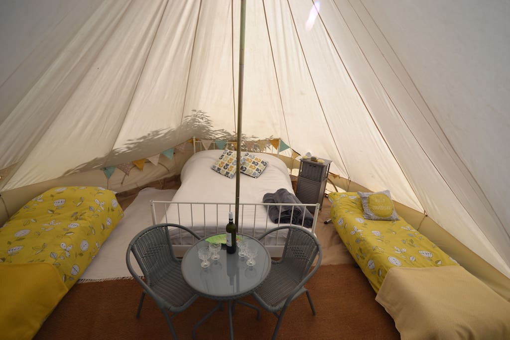 Clarabelle bell tent interior with all you need for a comfortable stay