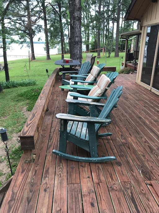 Deck Adirondacks make morning coffee and evening happy hours quite relaxing