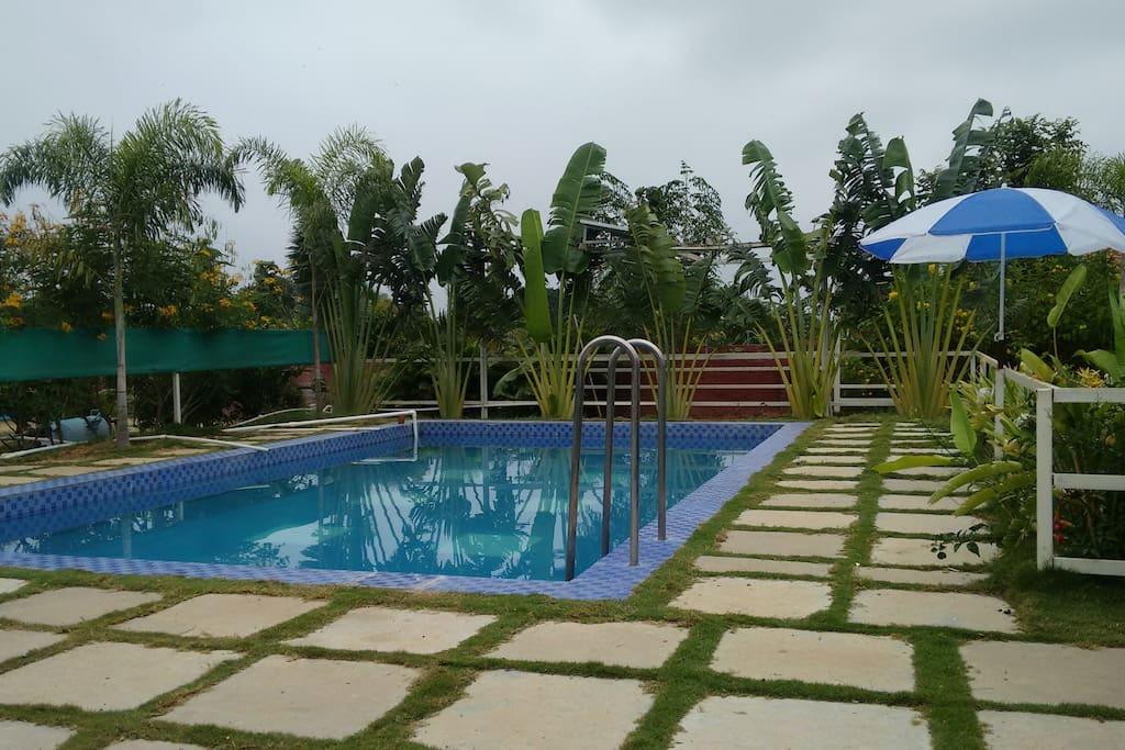 Farm house stay swimming pool near hyderabad houses for for Farmhouse with swimming pool