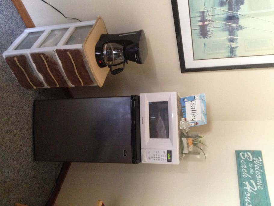 Microwave, fridge and coffee maker!
