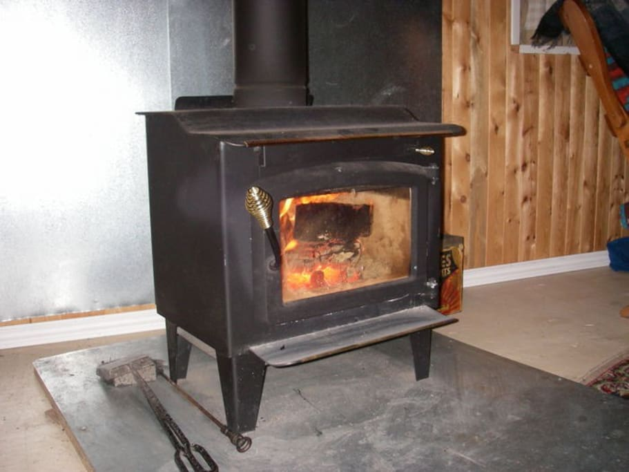 Cosy wood stove for those chilly nights!