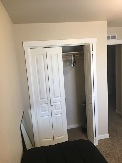 Closet, hangers and small standup fan available