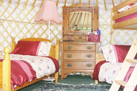 Yurt Iris with real beds, power, light, heat, WiFi - Llansilin - Yurt