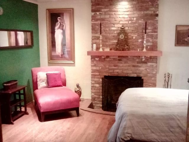 Best Airbnb Ever!  Romantic Room with Fireplace!