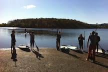 Paddle board yoga class at Leaser Lake. About one mile away.