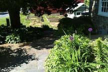 Spring view of garden near front entrance.