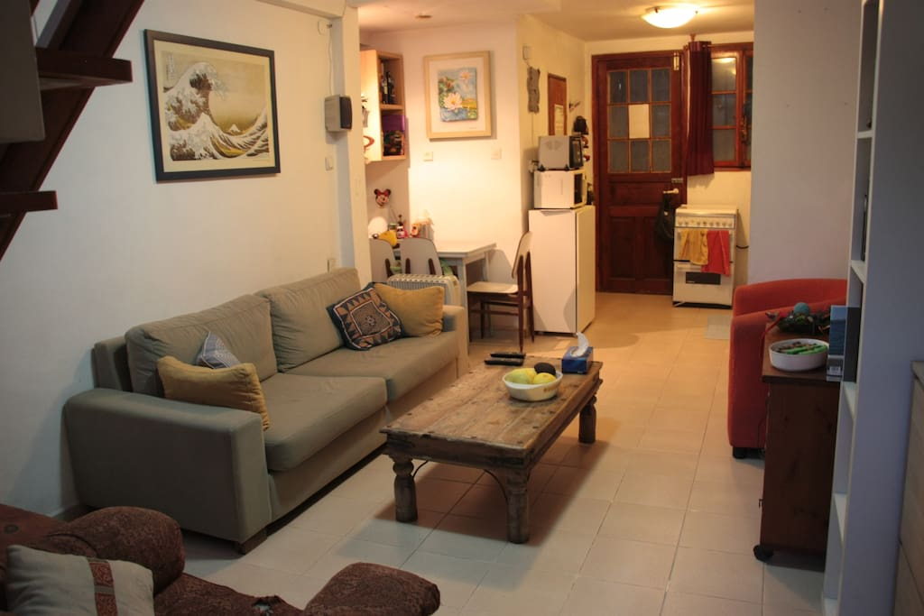 The living room, with a look towards the kitchen