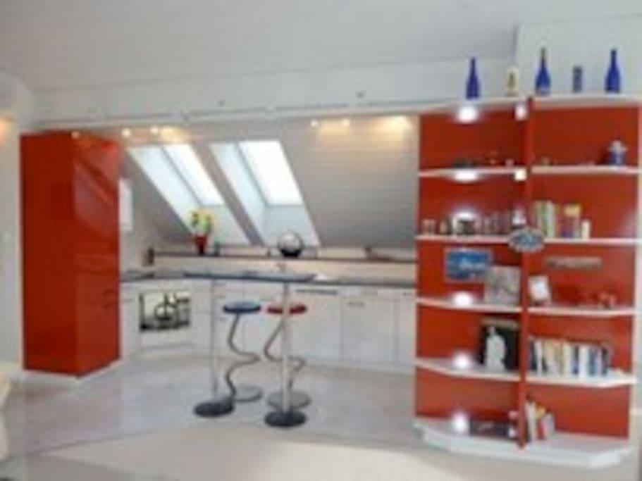 Very modern kitchen with built-in coffee machine