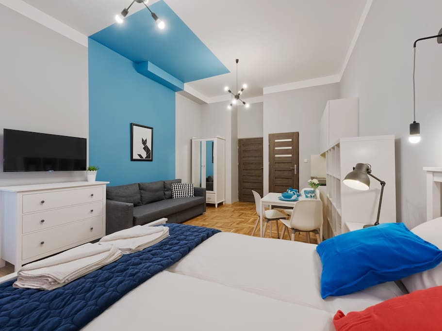 studio, entrance, sofa, bed, tv