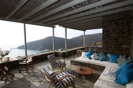 Fellos stone house with view  - Andros