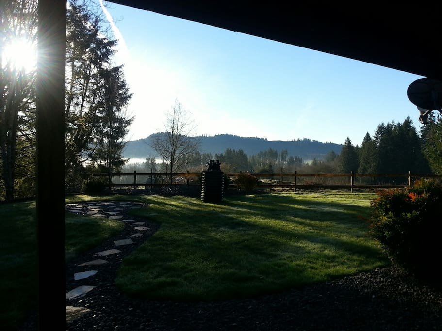 Beautiful Morning view of back yard