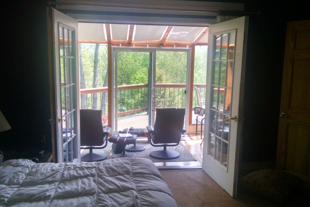 Sunroom off master bedroom overlooking Mt. Sunapee