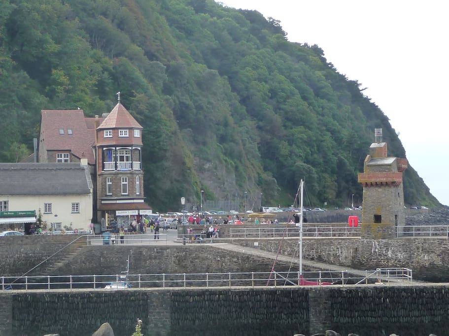 Lynmouth Harbour with Harbour Point in the background