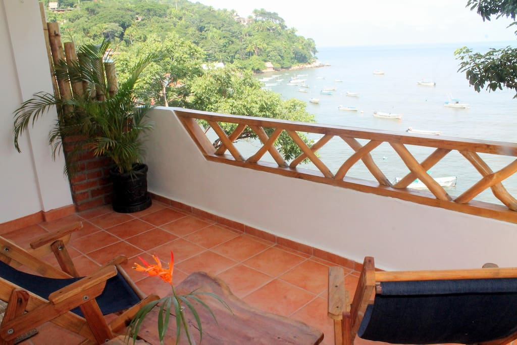 Relax on your patio and enjoy watching the comings and goings on in Yelapa.