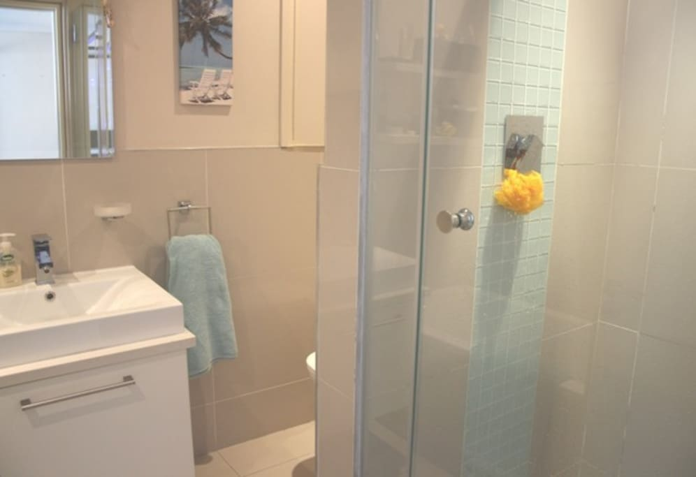 Modern bathroom with separate bath and shower