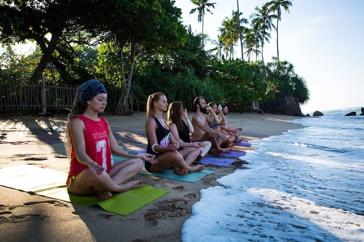 Yoga practising in Jungle beach