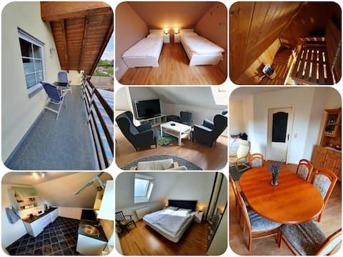 3R-Wohnung mit Sauna/Balkon/Garten zum Entspannen