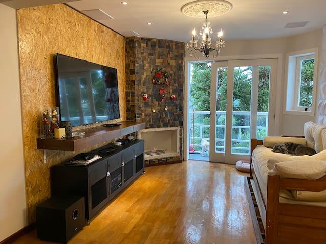 Vista da sala de estar com home theater completo, lareira com dois queimadores a álcool (líquido).