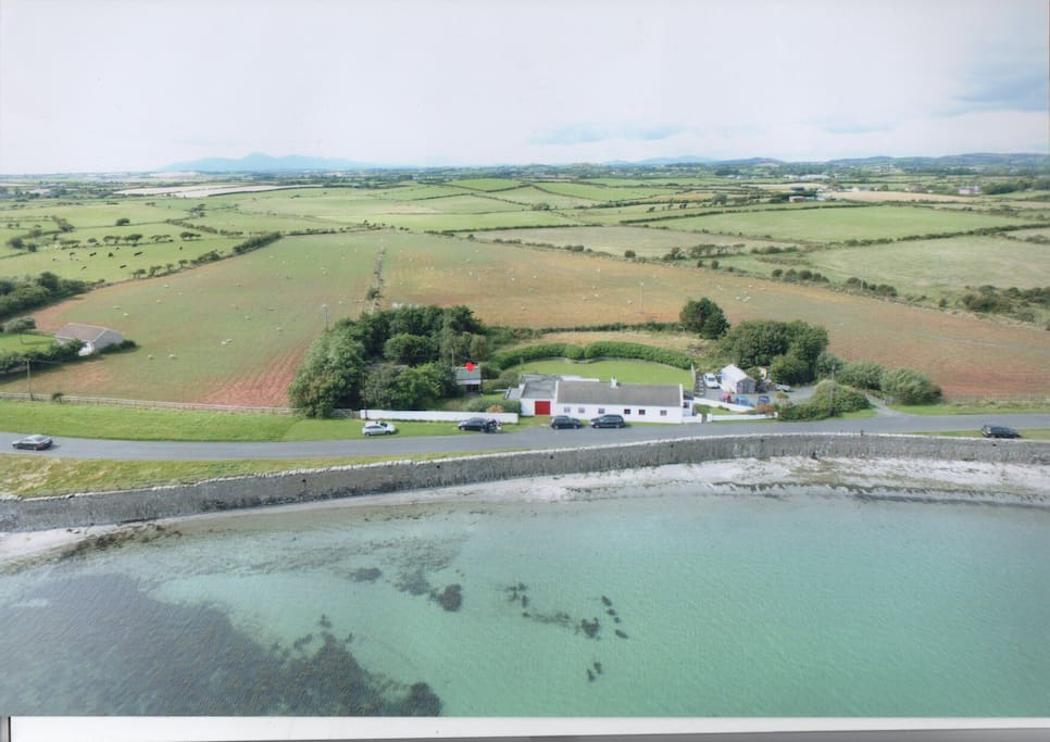 Aerial view of the cabin which is marked with a red dot. Children who wish to camp may also be accommodated adjacent to the cabin. Charge as indicated if you bring your own tent. Tent hire available on request.