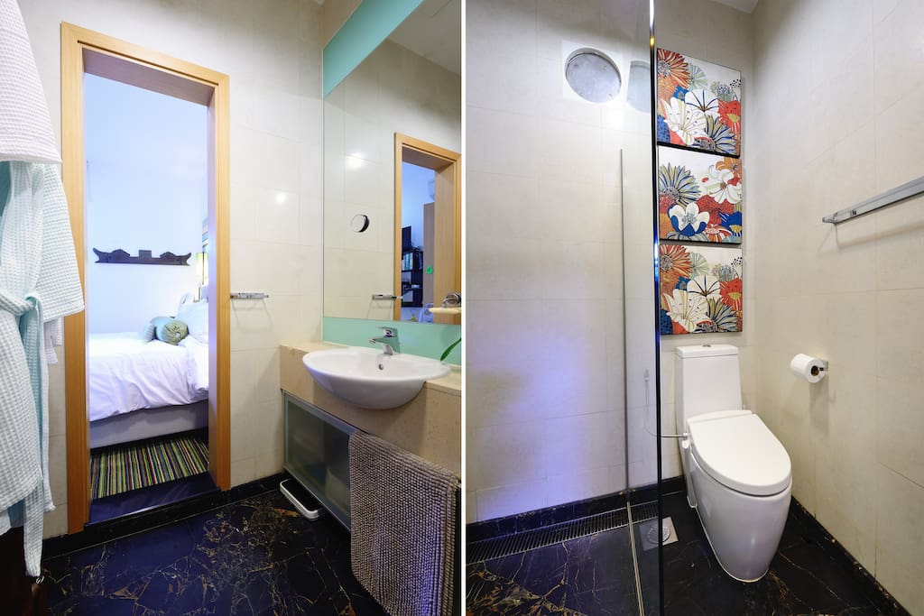 Bathroom size 3.65 sq metres.  Shower.