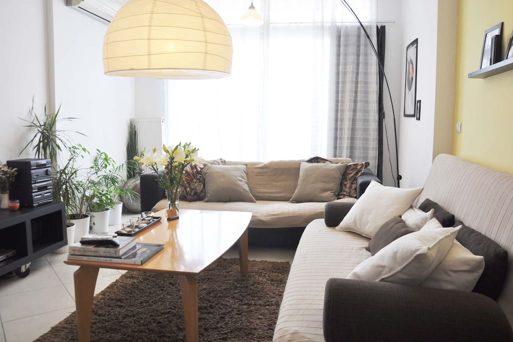 Living room with sofa- bed