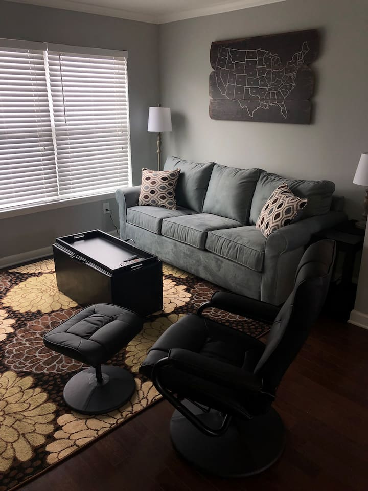 Comfy sofa with pullout queen size sleeper.