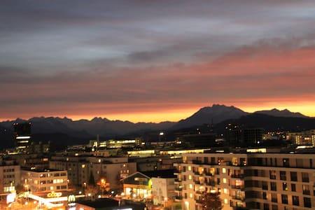 110qm flat with amazing view,train/bus 3 min away - Baar - Wohnung