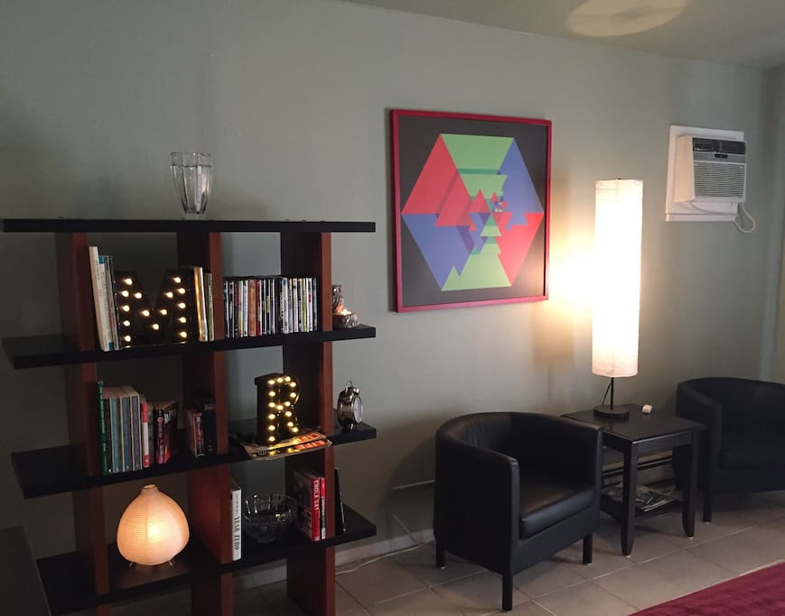 Sitting Area and Book and DVD Library