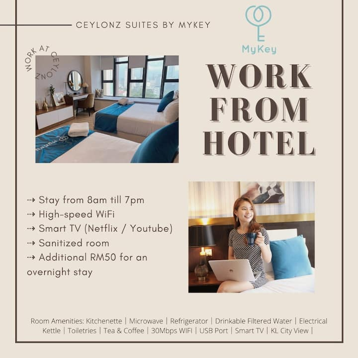 Work From Hotel ♥ WFH ♥ 8am to 7pm ♥ KL Tower[NEW]