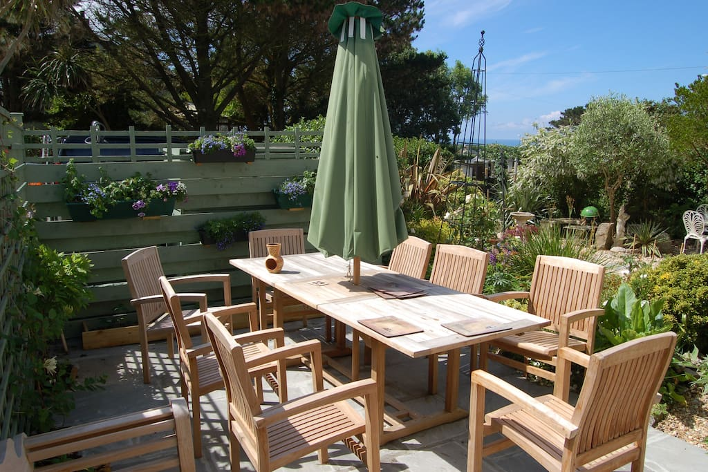 Large south facing al fresco dining area  with sea views