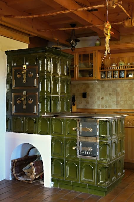 Tile Stove in the large full equipped kitchen