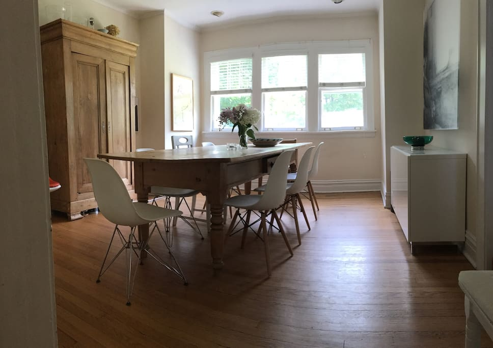 Dining room with large table for eight people